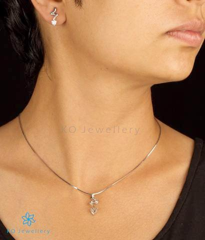 Buy office wear silver necklace set online in India