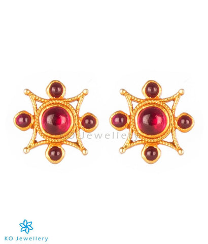 The Varga Silver Ear-Studs(Red)