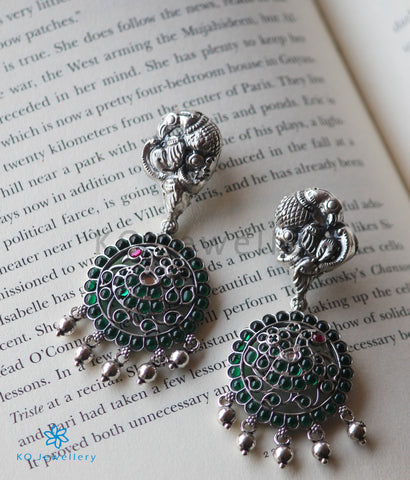 The Mrinalini Silver Peacock Earrings(Oxidised)
