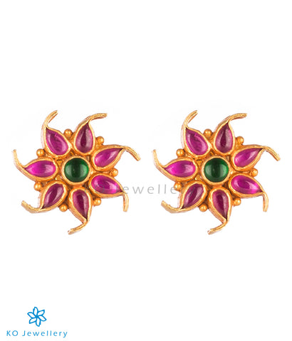 The Pauspa Silver Kempu Ear-Studs (Red/Green)