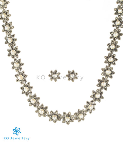 Swiss marcasite and pearl elegant necklace set