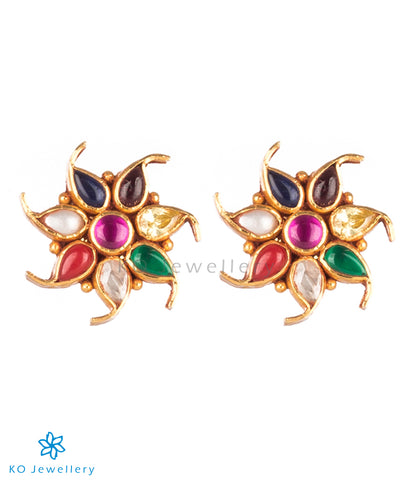 The Pauspa Silver Navratna Ear-Studs
