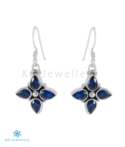 The Dyut Silver Gemstone Earrings (Blue)