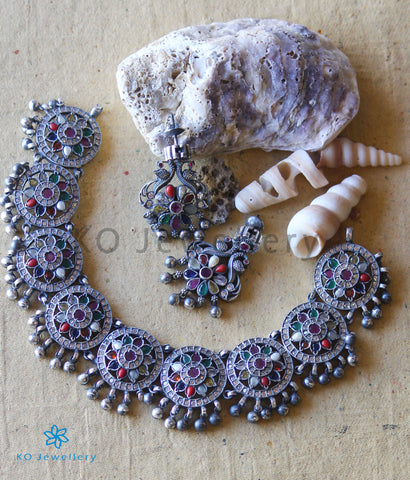 The Vansh Silver Navratna Necklace (Oxidised)