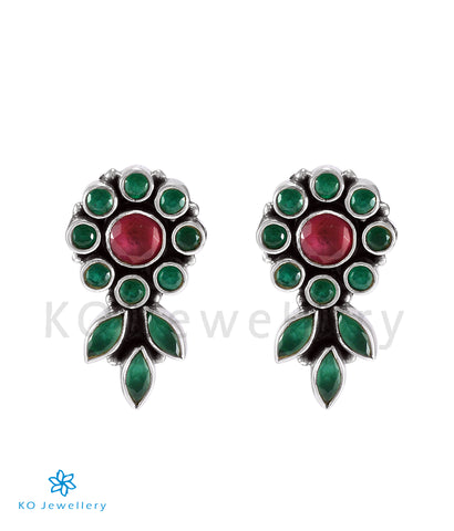 The Pritha Silver Gemstone Earrings (Red/Green)