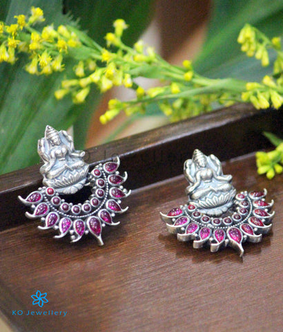 The Shreeja Silver Kempu Earrings (Oxidised)