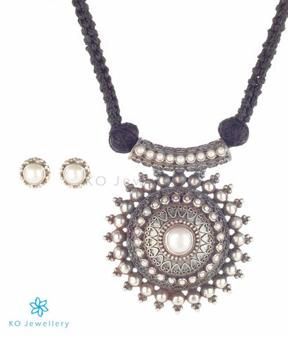 Beautiful oxidised silver temple jewellery set online