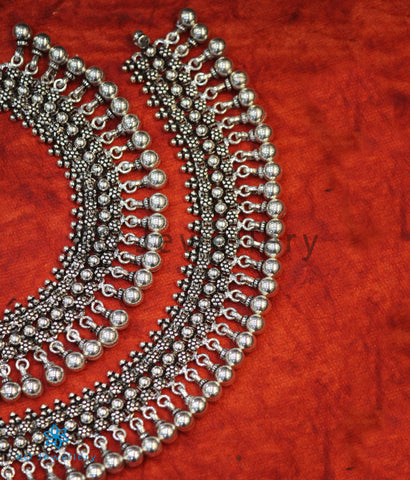 The Kamya Silver Bridal Anklets