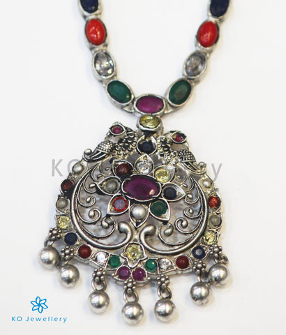 The Sachi Silver Peacock Navaratna Necklace (Oxidised)
