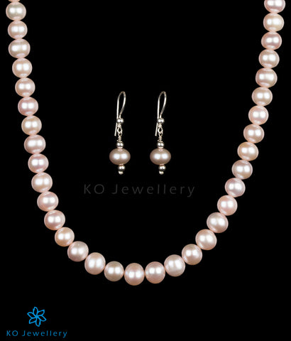 Original pearl silver long necklace