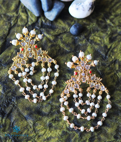 The Drishya Silver Peacock Earrings (Red/White)