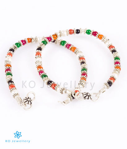 The Colourful Gemstone Silver Anklets (Kids)