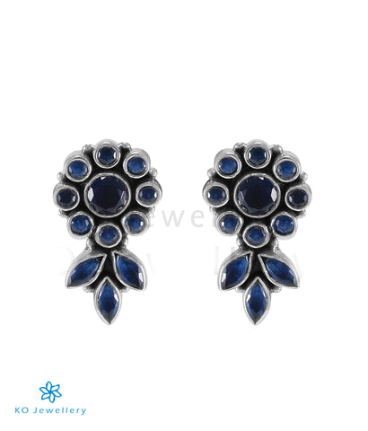 The Pritha Silver Gemstone Earrings (Blue)
