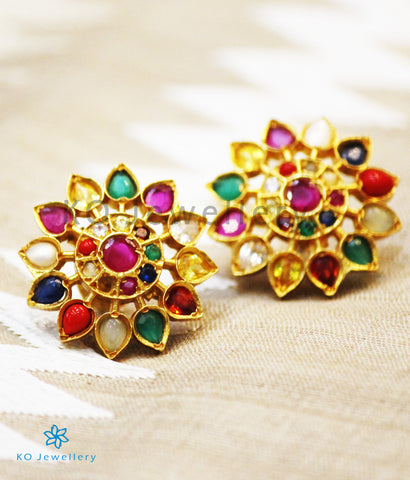 The Anahita Silver Ear-studs(Navratna)