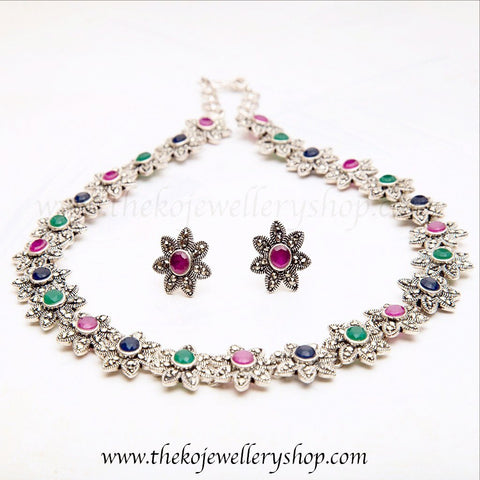 colourful elegant floral necklace sterling silver necklace