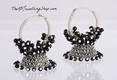 Black bali earring silver hand made