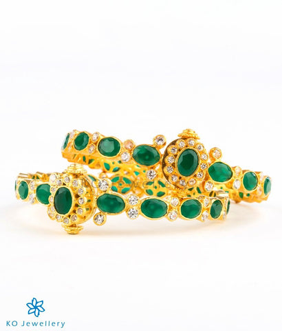 Handcrafted gold coated bangles with green kempu stones