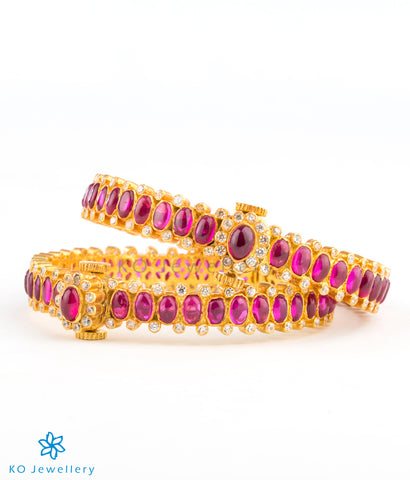 Traditional gold coated bangles with red kempu stones