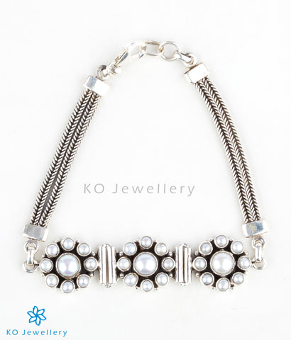 handmade silver and pearl bracelet online shopping India