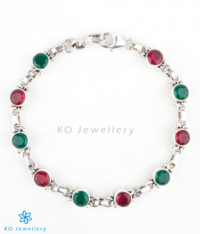 Handmade silver and colourful zircon bracelet at affordable price