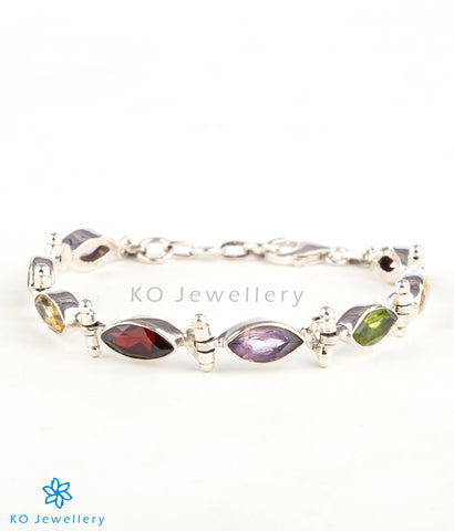 The Pratiti Silver Gemstone Bracelet (Multicolour)