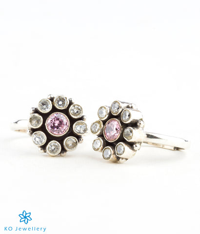 Handmade silver and pink zircon toe-rings online shopping India