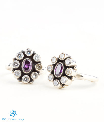 Silver toe rings with real gemstones handmade in India