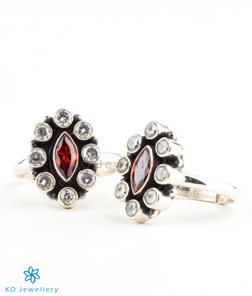 0dc2ba7afe semi-precious red zircon toe rings online shopping India; Buy handmade  silver and semi-precious stone toe rings online