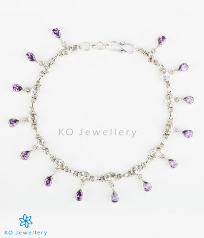 Handmade gemstone anklets decorated with amethyst and white zircon