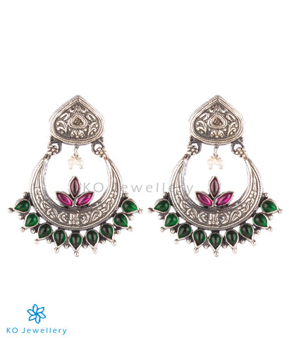 The Prerna Silver Chand Bali Earrings (Oxidised)