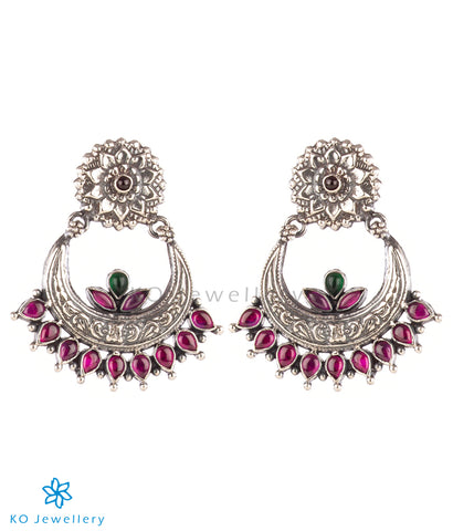 The Param Silver Chand Bali Earrings(Red/Oxidised)