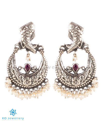 The Matsya Silver Chand Bali Earrings(Oxidised)