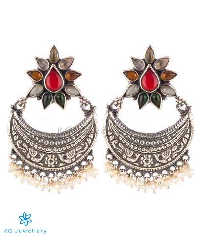 The Kshitij Silver Navratna Chand Bali Earrings(Oxidised)
