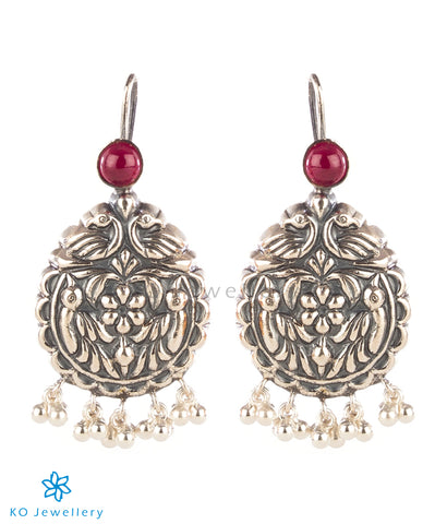 The Udayan Silver Peacock Earrings