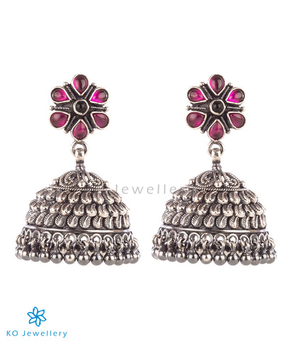 The Samiksha Silver Kempu Jhumka(Oxidised)
