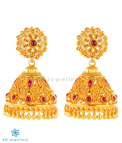 Intricately designed gold coated jhumkas