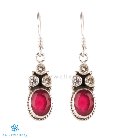 The Poulomi Silver Gemstone Earrings-Red
