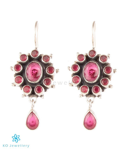 The Amrita Silver Earrings (Red)