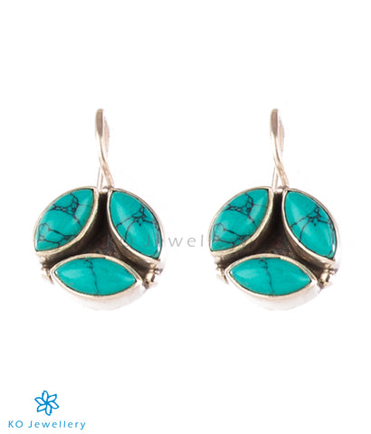 Dainty turquoise and silver earrings for officewear