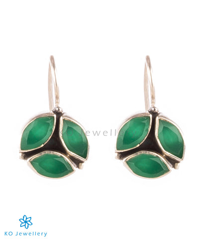 92.5 silver and natural green zircon earrings