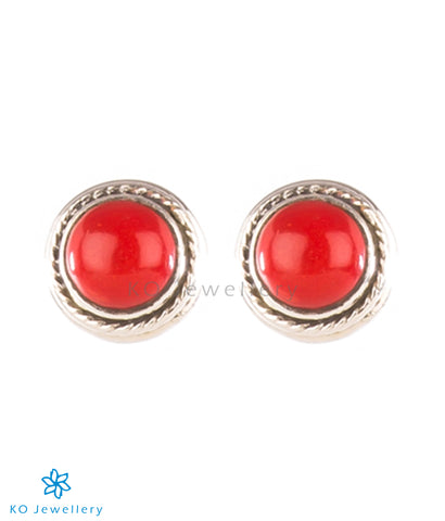 The Prisha Silver Earrings(Coral)