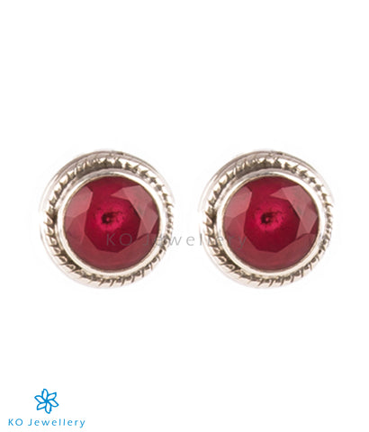 The Prisha Silver Earrings(Red)