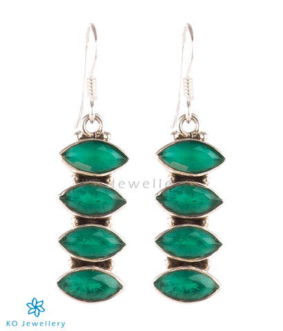 The Pratha Silver Gemstone Earrings-Green