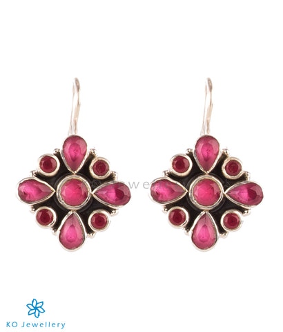 The Anaita Silver Gemstone Earrings- Red