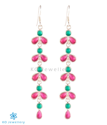 The Aham Silver Gemstone Earrings (Red/Green)