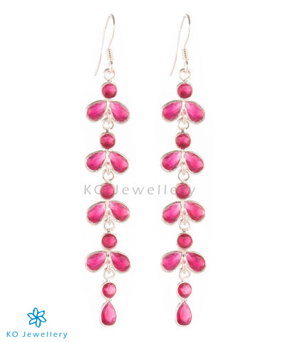 The Aham Silver Gemstone Earrings (Red)