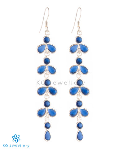 The Aham Silver Gemstone Earrings (Blue)