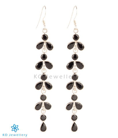 The Aham Silver Gemstone Earrings (Black)
