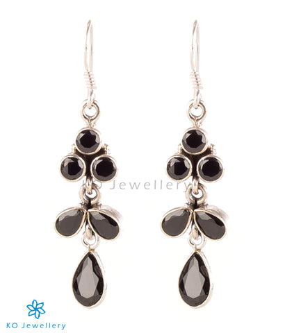 The Darshita Silver Gemstone Earrings(Black)