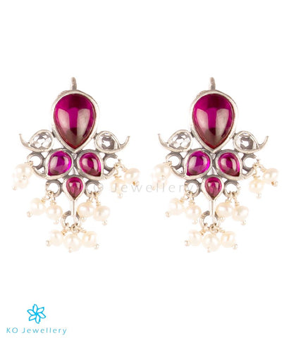 The Puskara Silver Kempu Earrings(Red/White)